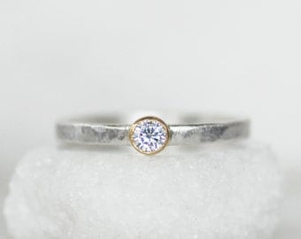 Moissanite Stacking Ring - 18k Gold and Silver Stack Ring  - Alternative Engagement Ring - Size 6.5