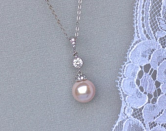 Pink Blush Pearl Necklace, Pink Pearl Bridal Necklace, Crystal & Pearl Pendant, SISSY