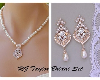Rose Gold Bridal SET, Wedding Jewelry Set, Bridal Earrings & Necklace SET, Rose Gold Chandelier Earrings, Crystal and Pearl Set, TAYLOR