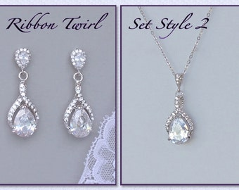 Crystal Jewelry Set, Teardrop Crystal Bridal Set, Crystal Necklace & Earrings Set, Clip On Earring Option RIBBON TWIRL