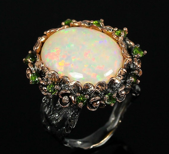 Natural 10ct AAAAA+ FULL FIRE Opal gemstone, 14kt Rose Gold, Black Rhodium Ring Size 8 1/2