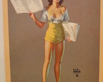 1940s Earl Moran Newsgirl Newsie Girlie Pinup Original Gams