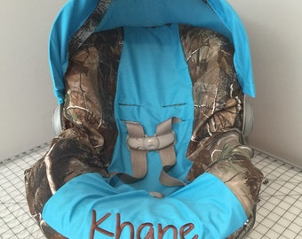 REALTREE CAMO fabric with  Turquois blue car seat  Cover and visor with Free Monogram