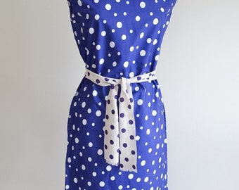 1960s Blue & white polka dot cotton sheath dress / 60s tie belt summer dress - S