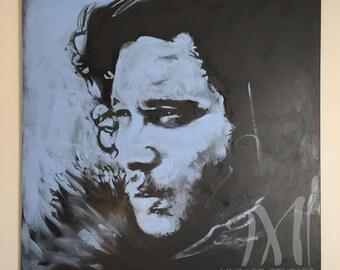 "Jon Snow • Large Scale Original Acrylic Painting • 48"" x 48"" • ""Jon Snow"" • Original Canvas Painting • Game of Thrones Pop Art"