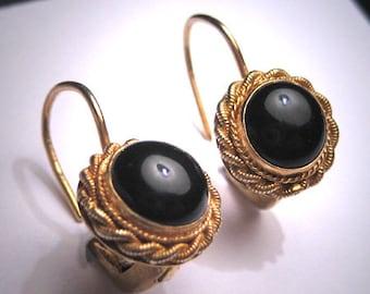 Vintage Georgian Victorian Revival Black Onyx Earrings Gold