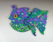 3D Large Fish Magnet or Wall Art in Green, Purple and Yellow Polymer Clay