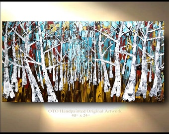 Large white tree, Original Art, Wall Decor, Abstract, Modern, Colorful Tree, Painting, red teal blue, gold, office artwork, By Oto,
