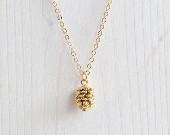 Gold Pine Cone Necklace | Pine cone Necklace | Pinecone Gold | Tiny Pinecone Necklace | Layering Necklace | Gift For Her | Valentines Day