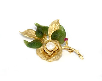 Estate 14k Gold Rose w Jadeite Leaves and 6mm Akoya Pearl and Ruby Brooch Pin