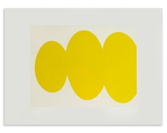 Yellow Form, large screenprint, minimal print, abstract, bold, hard edged, yellow original by Emma Lawrenson