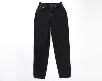 VINTAGE 1980s Chic Black Jeans Denim Pants High Waist