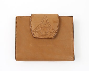 VINTAGE Soft Leather Wallet Floral Embossed Brown