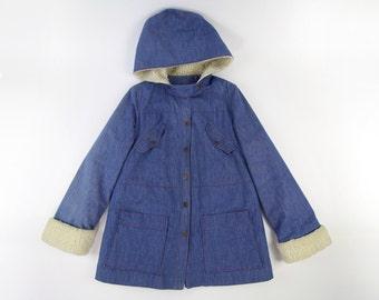 VINTAGE Denim Coat Fleece Hood 1970s