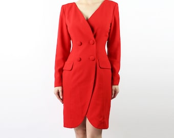 VINTAGE Red Dress 1990s Jacket Style