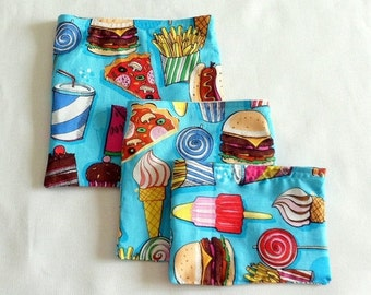 Sale 3 Lunch Bags Fabric Sacks Reusable Bags for Lunch Snacks Small Items Set of Three Sacks Work  School  Play