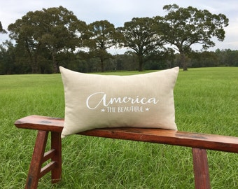 America the beautiful pillow cover, housewarming gift, patriotic pillow cover, USA pillow cover, 4th of July pillow cover, typography pillow