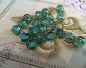 8mm Aqua Flash Czech Glass Beads Fluted Melon Glass Beads 20 pcs.