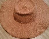 Vintage Straw Hat Brown Leather Strap Summer Sun Gardening Beach 1980s Millinery