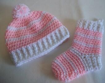 Christmas Baby Gift, Crochet Newborn Hat & Stocking Set, Baby Christmas Stocking, Baby Shower Gift, New Mom Gift, Christmas Gift, Baby Gift