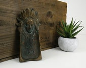 Copper Plated Cigar Rest / Indian Chief Cast Iron Ashtray / Feathered Head Dress / Tobacciana
