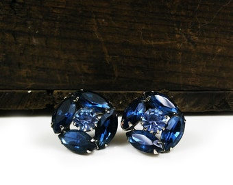 Weiss Earrings / Blue Rhinestone / Signed Clip On / MidCentury Costume Jewelry