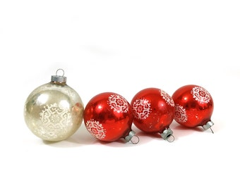 Vintage glass tree ornaments - stenciled snowflake red and silver bulbs