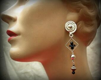 Dangling Swirl & Black Glass Bead Earrings