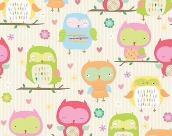 Owl & Co Fabric Main in Cream by Riley Blake - Half Yard