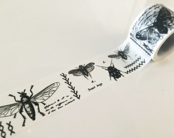 Black & White Moth Insects Illustration - Big Washi Tape 30mm x 5 meters WT778