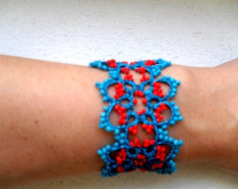 Turquoise and Red Tatted Beaded Lace Bracelet