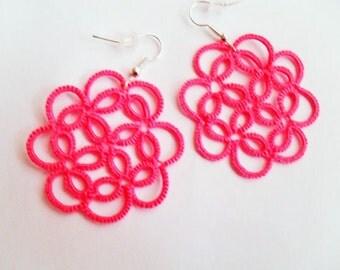 Pink lace earrings, frivolite bijoux, tatting earrings, handmade jewelry, lace jewelry, tatted jewelry, victorian earrings