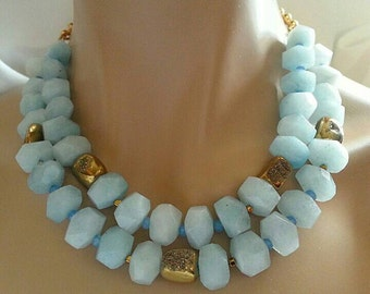 New! Milky Aquamarine Nugget Gold Pyrite Druzy Multi Strand Statement Necklace 2 Strand Necklace March Birthstone