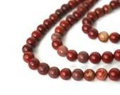red jasper beads, 8mm round, Full strand (772S)