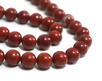 Red Jasper beads, 10mm round natural gemstone bead, full & half strands available  (808S)