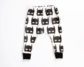 super hero mask organic harems / baby toddler harems / hipster baby clothes / cloth diaper / black and white super hero mask