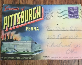 Vintage Souvenir of Pittsburgh, Pennsylvania Fold Out Post Card Linen Post Card Post Card Booklet  Vintage Photography Vintage Post Card