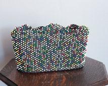 1940s Handbag // Primary Color Beaded Purse // vintage 40s handbag