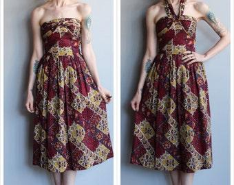 1950s Dress // Bali Sun Batik Dress // vintage 50s convertible halter/strapless dress