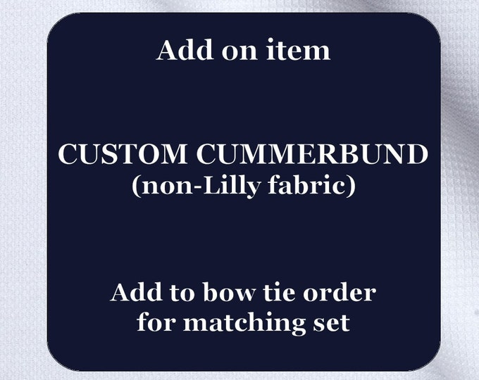 Custom handmade cummerbund (non-Lilly fabric), wedding party menswear, stylish tuxedo accessory, groom formal wear, formal wedding attire