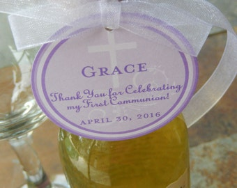 """50 First Communion Custom Thank You 2""""  Favor Tags - Mason Jar Gifts - Lollipops - Cookies - Mini Wine Bottles - Catholic Party Favors"""