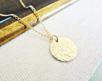 Circle Necklace. Small Gold Disc. Drop Pendant. Hammered Textured Coin Charm. Simple Minimal Jewelry