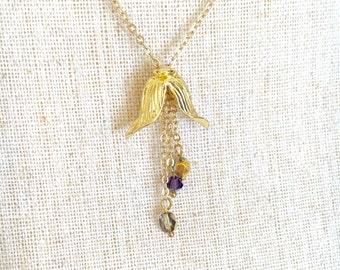 Tulip Necklace. Gold Flower Charm. Earthy Jewelry. Beaded Tassel Pendant