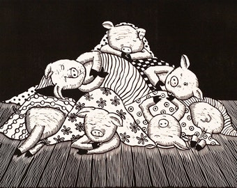 linocut, Pigs in Blankets, humor, english humor, pigs, fun, black and white, large print, home interior, dining room, blankets, stripes,