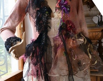 RESERVED for N. Lovely Feminine Sexy Schabby Chic With Black Jacket  LOVE Fairy Romantic Marie Antoinette Boho Tattered