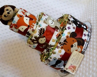 Woodland Animals Baby Diaper Cake Select Ribbon Color and Topper Shower Gift or Centerpiece