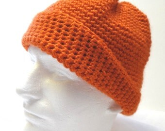 Orange Wool Hat, Hunters, Mens, Woolen Cap, Skull Cap, Thick, Warm, Womens Hat, Crochet, Hunting/Cycling/Jogging/Fishing/Cap/Wool/Hat/Cap