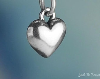 Miniature Sterling Silver Simple One Sided Heart Charm Tiny Solid .925