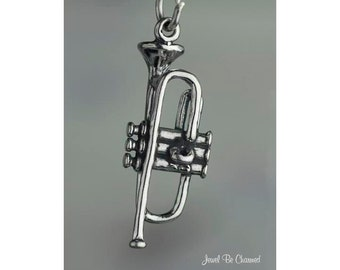Sterling Silver Trumpet Charm Musical Instrument Music 3D Solid .925