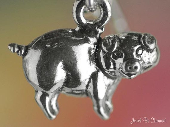Pig charm miniature sterling silver piggy bank very small tiny for Fish food pantry sterling il